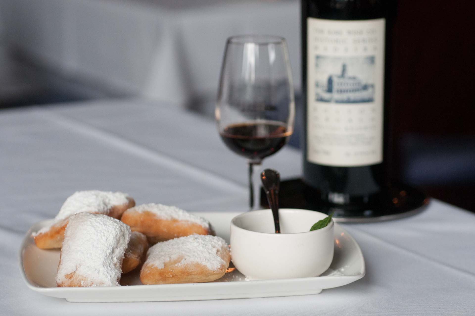 Beignets, Powdered Sugar, and Bourbon-Caramel Sauce paired with Bual, Boston Bual, The Rare Wine Co. Historic Series, Madeira, Portugal